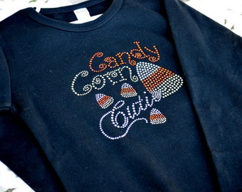 SALE: Candy Corn Cutie Rhinestone Shirt- Long Sleeve, Halloween Shirt, Costume, Short Sleeve, Bling,