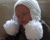 Baby Double Pom Pom Earflap Hat...5 Color Choices...0 to 3 Month...Boy or Girl..Fall Hat...PHOTOGRAPHERS Prop...Ready to Ship