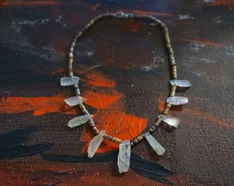 triUne necklace : leopard skin jasper & kunzite shards