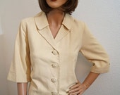 Vintage 60s Mod Crop Jacket / Natural Cream Linen Boxy Jacket with Button Tab Detail -  Medium