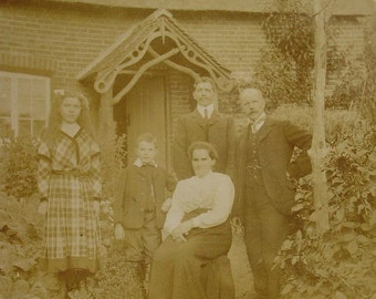 Antique Photograph - Family Photo with Thatched Cottage