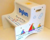 Large Personalized Two Step Stool with Sailboats in Primary Colors