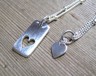 Matching Mother Daughter Jewelry, Mom and Daughter Necklace, Sterling Silver Heart Pendant, Add A Birthstone, Mommy And Me Jewelry