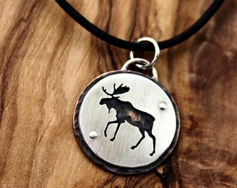 Moose pendant, sterling silver and copper necklace, hand cut animal jewelry