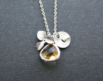 Personalized Orchid Necklace.Citrine Glass. Initial Orchid Necklace. Birthstone Necklace.Bridesmaids Gift. Wedding Jewelry. Sterling Silver
