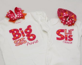 Big Sister Shirt and Little Sister Bodysuit with Hairbows- Personalized - Hot Pink and Orange