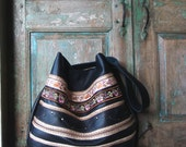 Black Leather Hobo with Vintage French Textile Trim