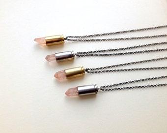 Pink Quartz Bullet Necklace