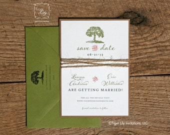 Rustic Tree Twine Wedding Save the Date - Tree Save the Date - Rustic Save the Date - Rustic Tree Save the Date - Kraft and Olive Wedding