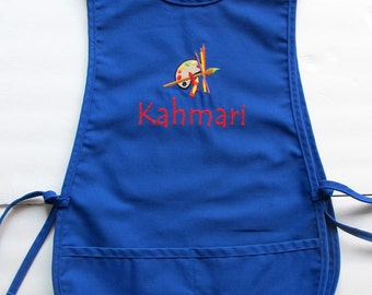 Personalized Kids Smock - Custom Childs Art Apron - Paint Palette