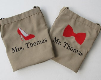 Mr and Mrs Aprons - Wedding Shower Gift - Monogrammed Embroidered Aprons -WITH Established Date