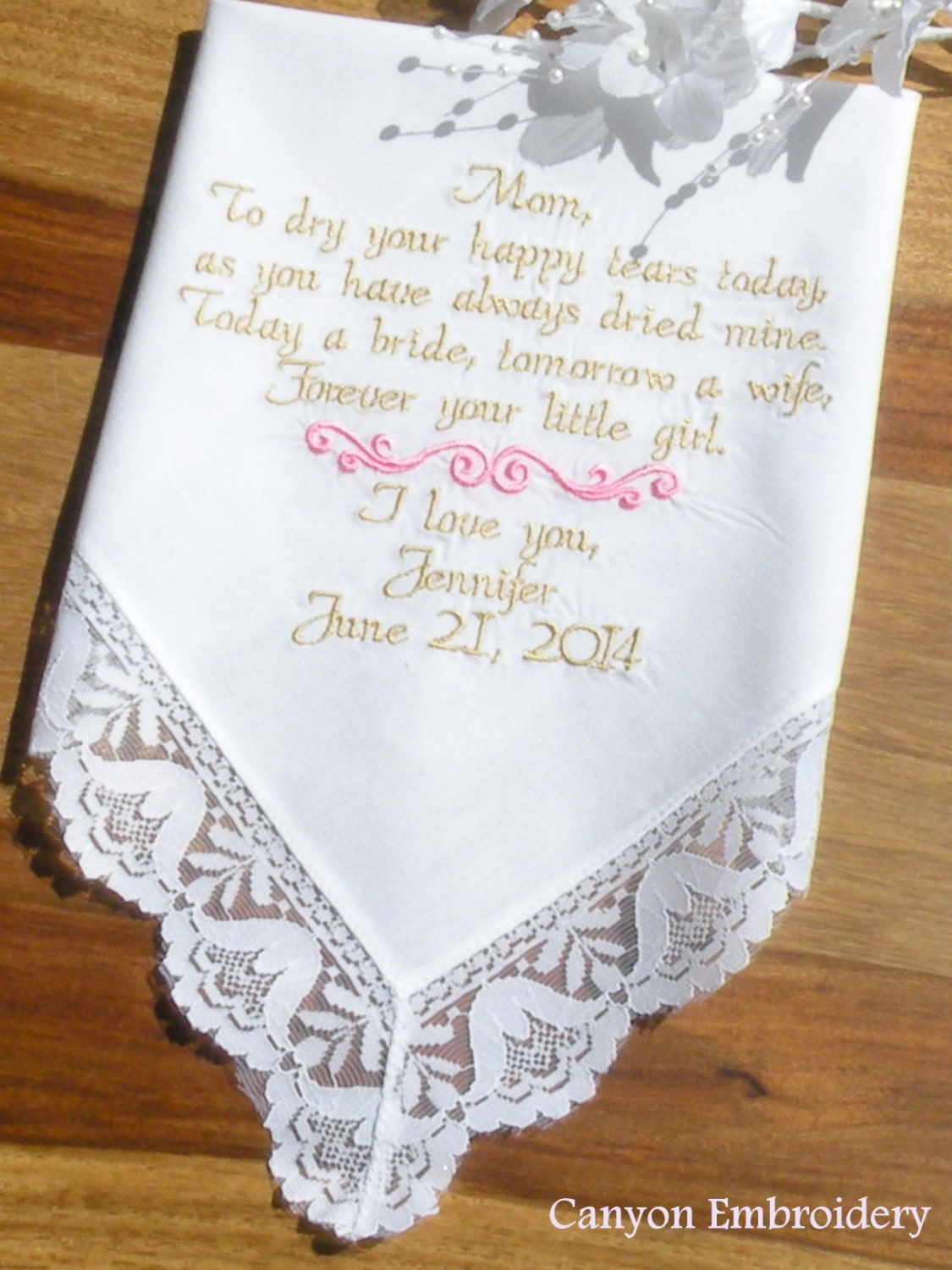 embroidered wedding handkerchief mother of the bride to dry