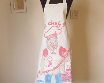 Vintage 60's Apron, Chef, Great Retro Graphics, GREAT Gift For DAD...BBQ Theme, White with Red, Blue, Black