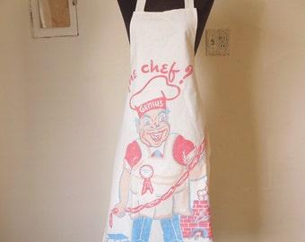 Vintage 60's Apron, Chef, Retro Graphics, BBQ Theme, FAtHERS DAY White, Red, Blue, Black, SALE