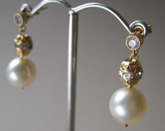 Classic Pearl Drop Earrings -  Double Drop - Gold with Crystal Bead Accents - Vintage Inspired Earrings