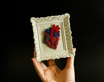 Valentines Day 3D Anatomical Heart in a Mini Frame. Punchneedle Embroidery Fiber Art. Home or Office Decor. Heart Surgeon. Red, Blue, Purple