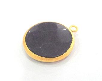 26 mm.  Purple Pendants , Gold Plated  Bezel ,  G904