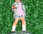 CLEARANCE -Vintage Barclay #617 Lead Figurine of Little Girl in Blue Coat and Hat- Original paint