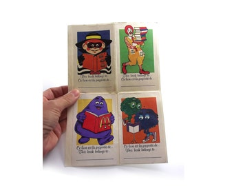 Vintage McDonalds Stickers, Ronald McDonalds, This Book Belongs To,