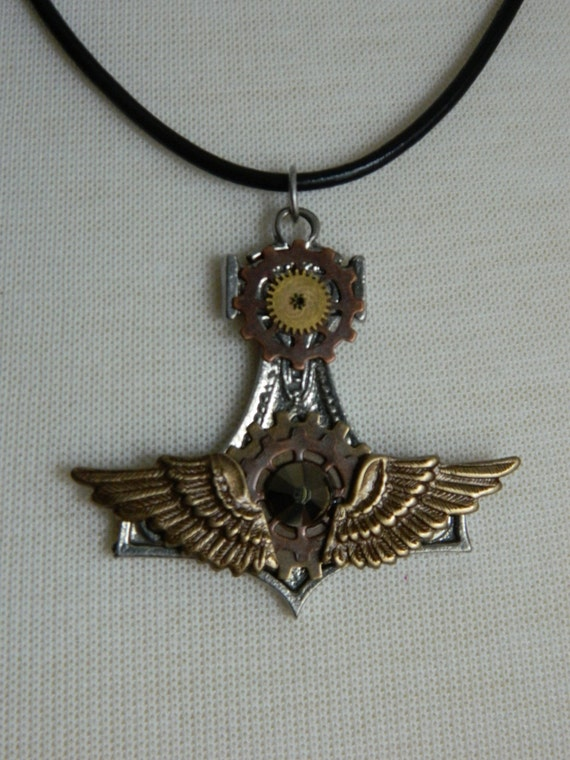 steampunk thor s hammer mj 246 lnir necklace by crow haven