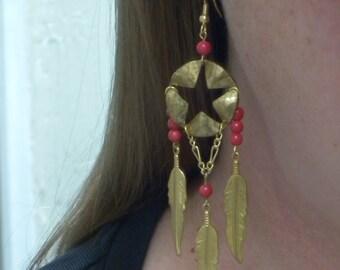 Brass Pentacle Stylized Dreamcatcher Earrings