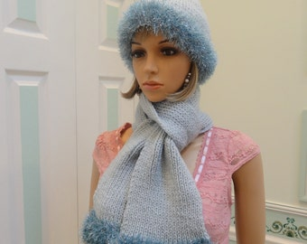 READY TO SHIP: Silver Blue Hat & scarf set,   worsted weight yarn, with silver blue eyelash yarn.
