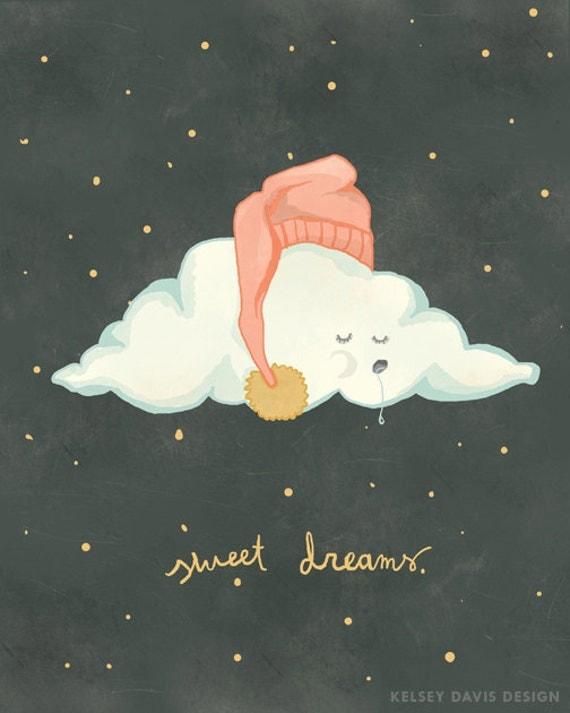Sweet Dreams Cloud Unisex Nursery Art 8x10 Print Of Original