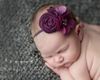 Positively Plum- Simple Solids Collection rosette and chiffon bloom headband