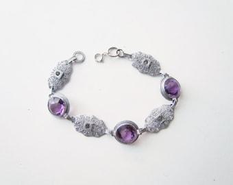 Antique Art Deco Filigree Bracelet With Glass Stones c.1920s