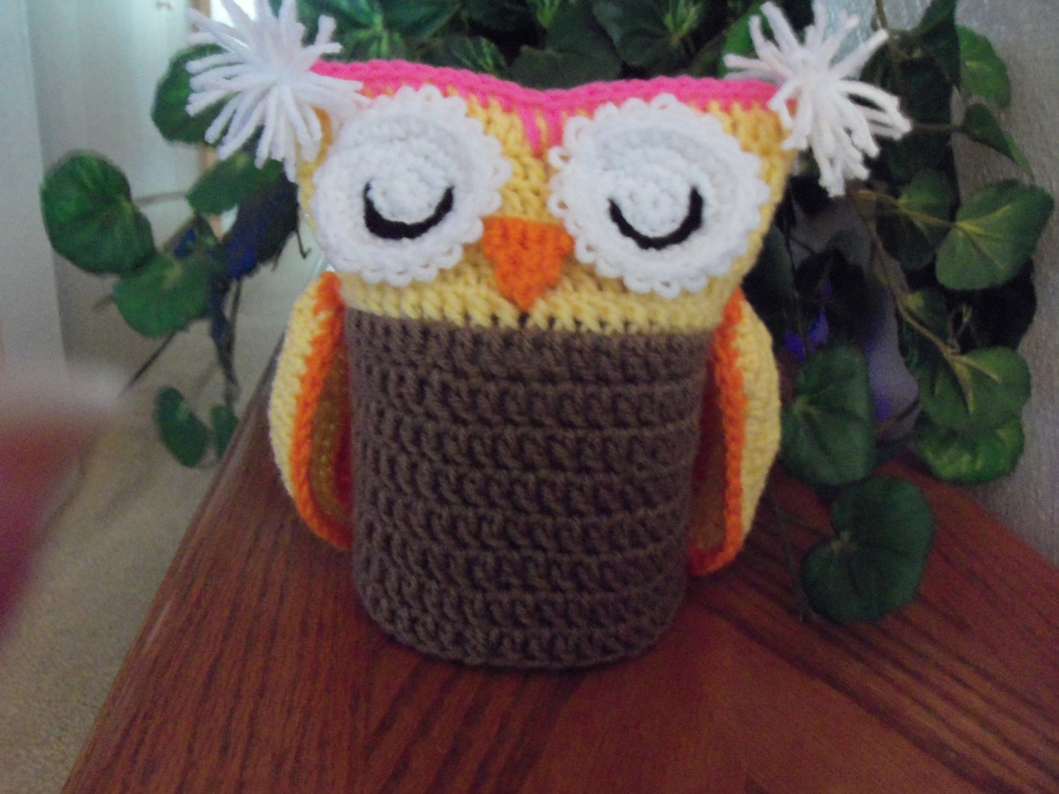 Crochet Owl Toilet Tissue Roll Cover