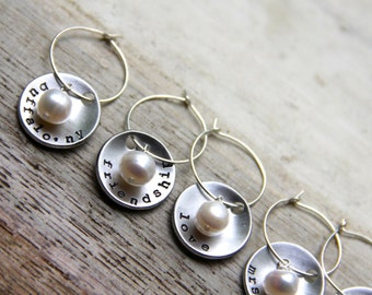 Custom Stamped Wine ID Charms - Set of 6. Perfect for your Wedding / Bridal Party / Shower