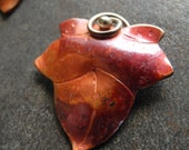 Copper Bead Copper Pendant Leaf With Swirl Autumn Maple Leaves Large 36mm