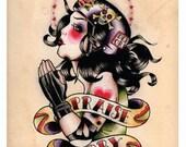 Praise Derby Roller Derby Tattoo Print