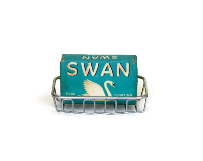 Vintage Swan Soap Wrapped Bar Retro Bath Antique Bathroom Turquoise Teal Blue White Graphics