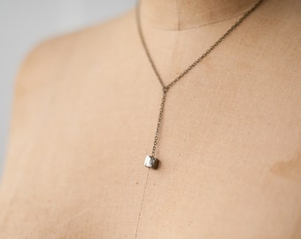 Pyrite Drop Y Necklace Gift for Her, Valentine Gift