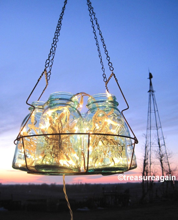 Antique Lights Mason Jar Chandelier 6 Blue QUART Ball Canning Jar Basket, Upcycled Hanging Mason Jar Lighting, Wedding Lighting Garden Party