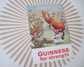 Guinness for Strength - vintage 1960s advertising, souvenir POSTCARD - horse racing, jockey, equestrian, Ireland, Dublin, thoroughbred,