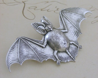 Vintage Brooch -  Bat Jewelry - Silver Brooch - Bat Brooch - handmade jewelry
