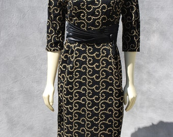 Vintage 50's hand embroidered dress stars swirl pattern formal mad men dress sM by thekaliman