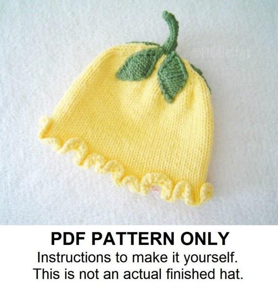 Knitting Pattern Girls Flower Hat Pattern by FiddlestyxStudios