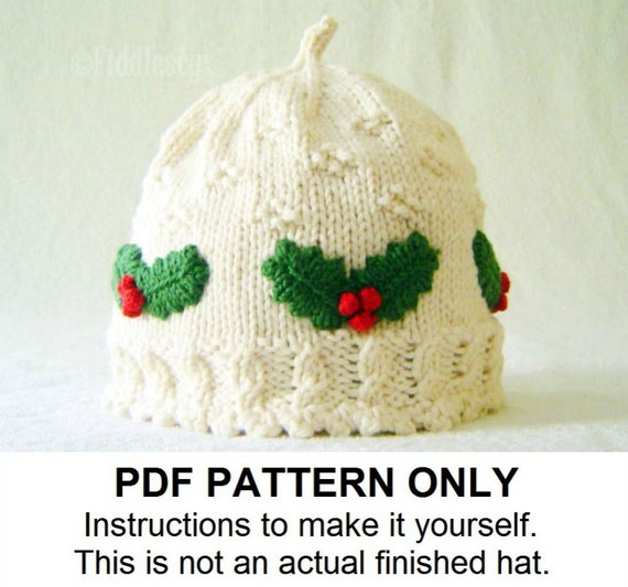 Knitted Sweater Patterns Free : Hat Knitting Pattern Girls Christmas Hat Pattern the HOLLY