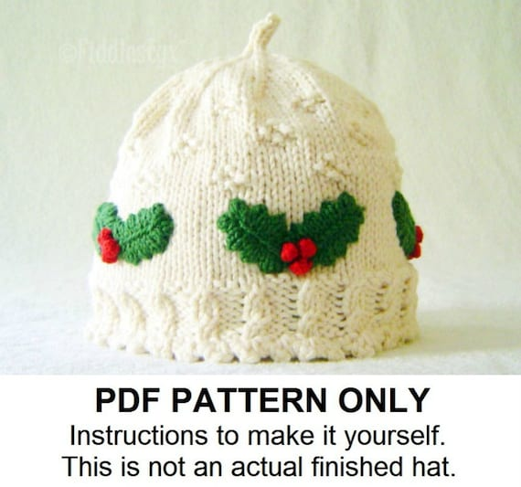 Christmas Child Knitting Patterns : Hat Knitting Pattern Girls Christmas Hat Pattern the HOLLY