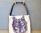 Handmade Wolf Tote with Vegan Leather Strap. Woodblock Printed. Made to Order.
