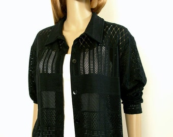 Vintage 1990s See Through Blouse Tunic Black Open Weave Blouse Shirt / Large