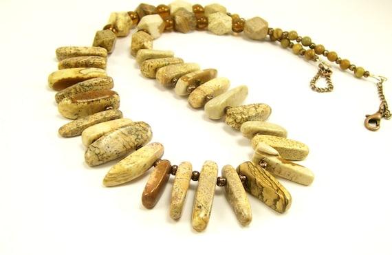 Gemstone Jewelry Necklace Picture Jasper, Statement Bib Necklace, Beaded Necklace, Handmade Jewelry, Fashion Jewelry, Beaded Jewelry