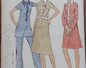 Vintage Butterick Sewing Pattern -- 70s Dress or Pant Suit -- Butterick 6182 -- Collared Dress -- Small B34