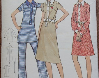 Vintage Butterick Sewing Pattern, 70s Dress, 70s Pant Suit,  Butterick 6182, Collared Dress, Tunic Pattern, Pointed Collar, Small B34
