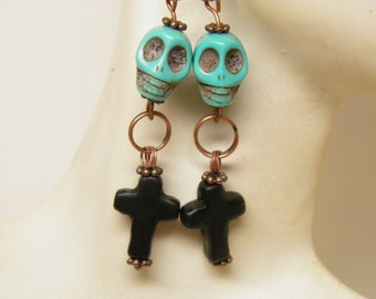 Day of the Dead Earrings, Black Turquoise Crosses and Blue Sugar Skull Jewelry, Day of the Dead Jewelry, Halloween Earrings, Rockabilly Goth