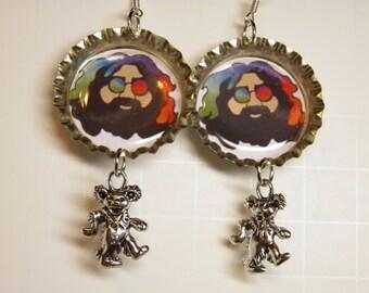 Grateful Dead Earrings, Grateful Dead Jewelry, Sterling Silver, Pewter, Hippie Jewelry, Jerry Garcia Deadhead Dancing Bears Boho Jewelry #3