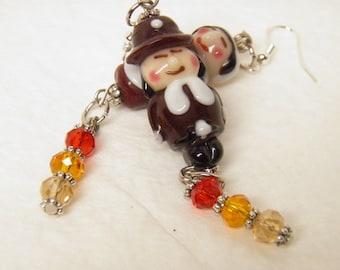 Thanksgiving Earrings, Sterling Silver Pilgrim Earrings, Autumn Earrings, Fall Artisan Lampwork Pilgrim Jewelry, Thanksgiving Jewelry